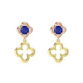 Round Blue Sapphire 14K Rose Gold Earring