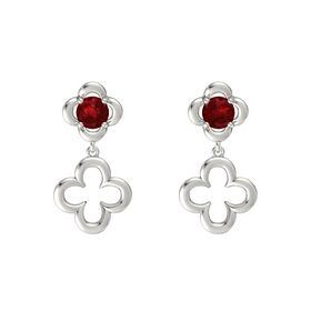 Round Ruby 14K White Gold Earring