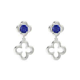 Round Blue Sapphire 14K White Gold Earring