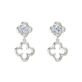 Round Diamond 14K White Gold Earring