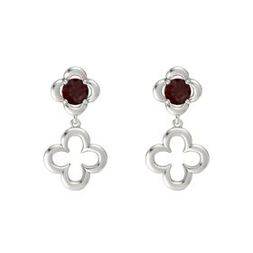 Round Red Garnet 14K White Gold Earring