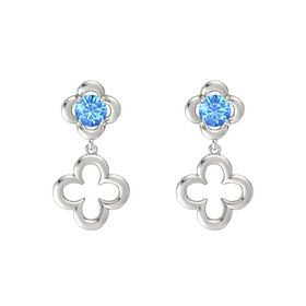 Round Blue Topaz 14K White Gold Earring