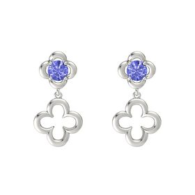 Round Tanzanite 14K White Gold Earring