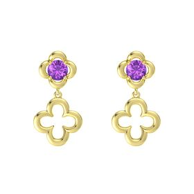 Round Amethyst 14K Yellow Gold Earring