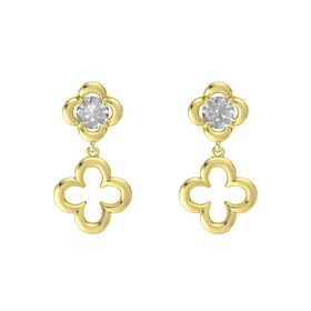 Round Rock Crystal 14K Yellow Gold Earring