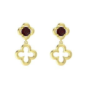 Round Red Garnet 14K Yellow Gold Earring
