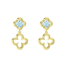 Round Aquamarine 14K Yellow Gold Earring