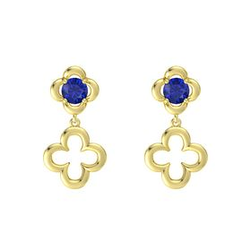 Round Blue Sapphire 14K Yellow Gold Earring