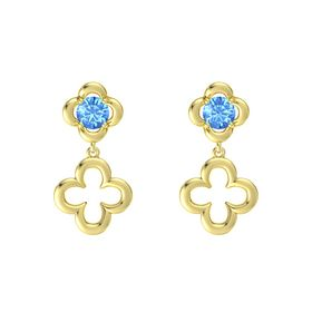 Round Blue Topaz 14K Yellow Gold Earring