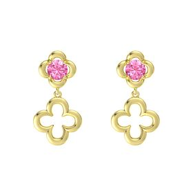 Round Pink Tourmaline 14K Yellow Gold Earring