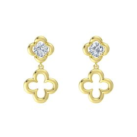 Round Diamond 14K Yellow Gold Earring