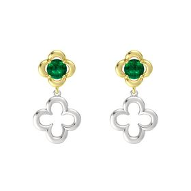 Round Emerald 14K Yellow Gold Earring