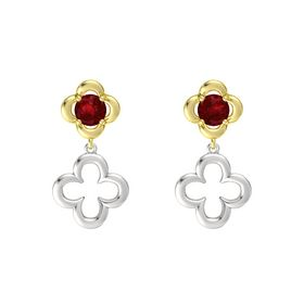 Round Ruby 14K Yellow Gold Earring