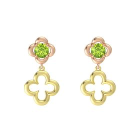 Round Peridot 18K Rose Gold Earring