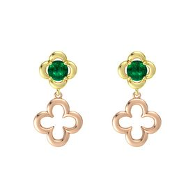 Round Emerald 18K Yellow Gold Earring