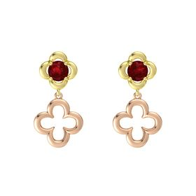 Round Ruby 18K Yellow Gold Earring