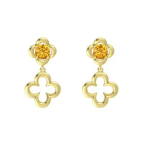 Round Citrine 18K Yellow Gold Earring
