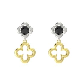 Round Black Diamond Platinum Earrings