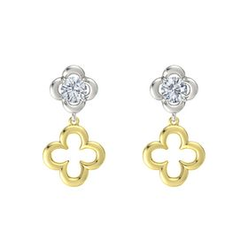 Round Diamond Platinum Earring