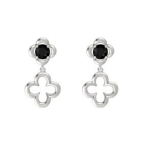 Round Black Onyx Platinum Earring