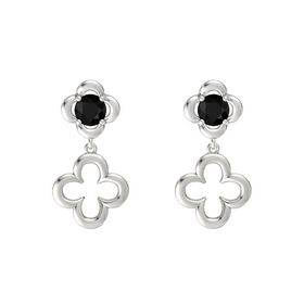 Round Black Onyx Sterling Silver Earring