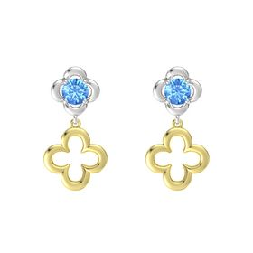 Round Blue Topaz Sterling Silver Earring