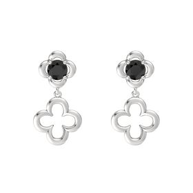 Round Black Diamond Sterling Silver Earring