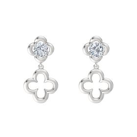 Round Diamond Sterling Silver Earring