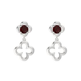 Round Red Garnet Sterling Silver Earring