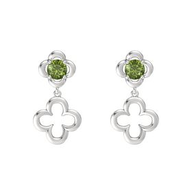 Round Green Tourmaline Sterling Silver Earring