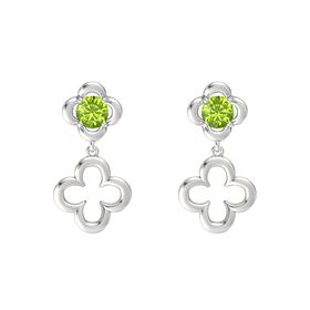 Round Peridot Sterling Silver Earring
