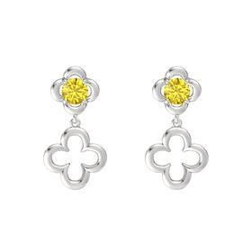 Round Yellow Sapphire Sterling Silver Earrings