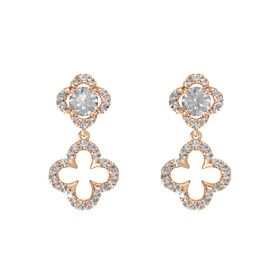 Round Rock Crystal 14K Rose Gold Earrings with Rock Crystal