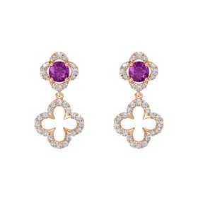 Round Rhodolite Garnet 14K Rose Gold Earrings with Diamond