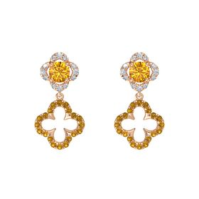 Round Citrine 14K Rose Gold Earring with Citrine and Diamond