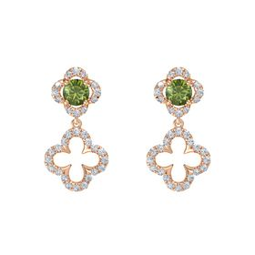 Round Green Tourmaline 14K Rose Gold Earring with Diamond