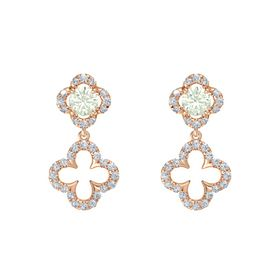 Round Green Amethyst 14K Rose Gold Earrings with Diamond