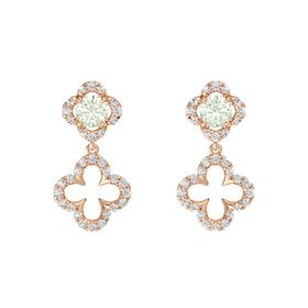 Round Green Amethyst 14K Rose Gold Earring with White Sapphire