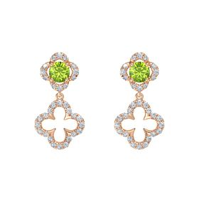Round Peridot 14K Rose Gold Earring with Diamond