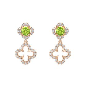 Round Peridot 14K Rose Gold Earrings with White Sapphire & Diamond