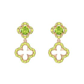 Round Peridot 14K Rose Gold Earring with Peridot