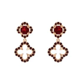 Round Ruby 14K Rose Gold Earring with Red Garnet