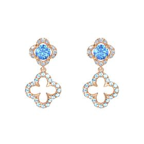 Round Blue Topaz 14K Rose Gold Earrings with Aquamarine & Diamond