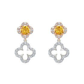 Round Citrine 14K Rose Gold Earring with Diamond