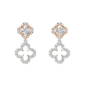 Round White Sapphire 14K Rose Gold Earring with White Sapphire