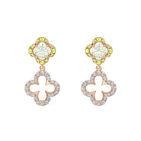 Round Green Amethyst 14K Rose Gold Earring with Diamond and Peridot