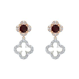 Round Red Garnet 14K Rose Gold Earring with Diamond