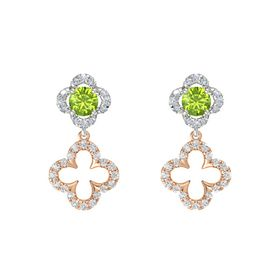 Round Peridot 14K White Gold Earring with White Sapphire and Diamond