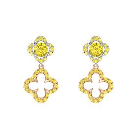 Round Yellow Sapphire 14K White Gold Earring with Yellow Sapphire