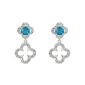 Round London Blue Topaz 14K White Gold Earring with Rock Crystal
